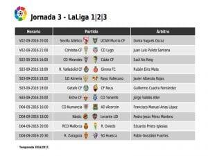 Calendario de partidos   Jornada 2ª   LaLiga 1 2 3   02, 03 y 04/09/2016