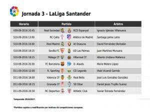 Calendario de partidos | Jornada 3ª | LaLiga Santander | 09, 10 y 11/09/2016
