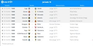 Calendario de partidos | Jornada 10ª | LaLiga 1|2|3 | 15 y 16/10/2016