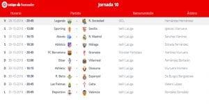 Calendario de partidos | Jornada 10ª | LaLiga Santander | 28 al 31/10/2016