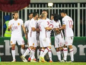 Jugadores de la selección española de fútbol celebran gol contra la selección de Albania (09/10/2016)