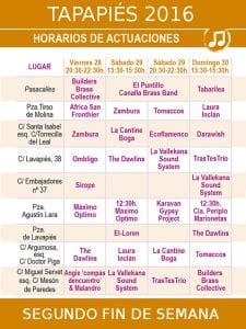Tapapiés 2016 | 20 al 30/10/2016 | Lavapiés - Madrid | Conciertos segundo fin de semana