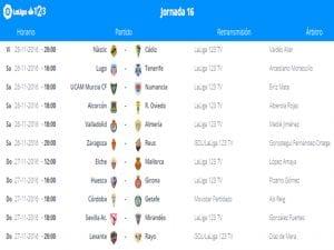 Calendario de partidos | Jornada 16ª | LaLiga 1|2|3 | 25 al 27/11/2016