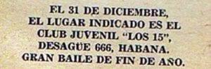 En esto llegó Fidel, se acabó la diversión   Publicidad de un bailable   31 de diciembre de 1958   La Habana - Cuba   1958