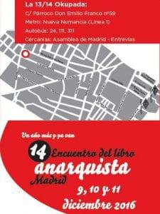 14º Encuentro del Libro Anarquista de Madrid | 9, 10 y 11 de diciembre de 2016 | La 13/14 Okupada | Entrevías - Vallecas | Plano cómo llegar