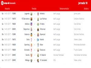 Calendario de partidos   Jornada 18ª   LaLiga Santander   14 al 16/01/2017