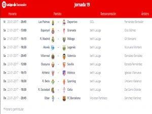Calendario de partidos   Jornada 19ª   LaLiga Santander   20 al 22/01/2017