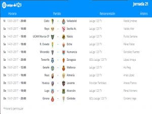 Calendario de partidos   Jornada 21ª   LaLiga 1 2 3   13 al 15/01/2017