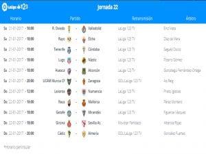 Calendario de partidos   Jornada 22ª   LaLiga 1 2 3   21 y 22/01/2017
