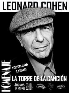 'La torre de la canción' | Homenaje a Leonard Cohen | 'Bolo' García - Camiseta i media | Sala Satéite T | Bilbao | 12/01/2017 | Cartel
