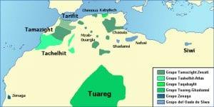 Mapa de las lenguas bereberes en el norte de África | Fuente Wikipedia