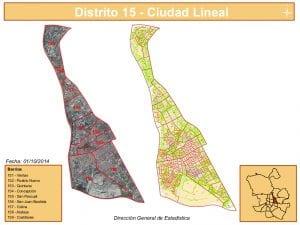 Planos 9 barrios del distrito de Ciudad Lineal | Madrid | Fuente DGE del Ayuntamiento de Madrid