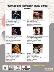 1ª Muestra de Teatro Aficionado de la Comunidad de Madrid | FETAM | Centro Cultural Viñagrande | Alcorcón | Febrero-Abril 2017 | Programa
