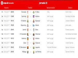 Calendario de partidos   Jornada 23ª   LaLiga Santander   17 al 20/02/2017