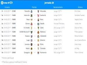 Calendario de partidos   Jornada 28ª   LaLiga 1 2 3   03 al 05/03/2017