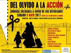 'Del olvido a la acción' | Jornada solidaria pro refugiados | Sábado 6 mayo 2017 | ONG Te doy mi llave - AMPAs Arganzuela | Madrid | Cartel