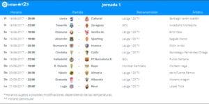 Calendario de partidos   LaLiga 1 2 3   Jornada 1ª   18 al 21/08/2017