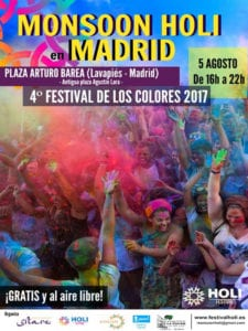 Monsoon Holi Madrid empapa Lavapiés por San Cayetano | 05/08/2017 | Plaza de Arturo Barea - Lavapiés - Madrid | Cartel