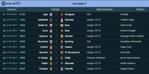 Calendario de partidos | LaLiga 1|2|3 | Jornada 5ª | 15 al 17/09/2017