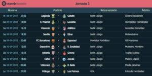 Calendario de partidos | LaLiga Santander | Jornada 3ª | 08 al 11/09/2017