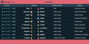 Calendario de partidos | LaLiga Santander | Jornada 7ª | 29/09 al 01/10/2017