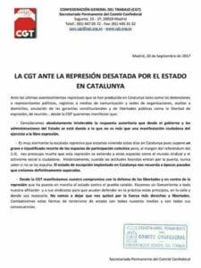 La CGT ante la represión desatada por el Estado en Catalunya   Comunicado del Secretariado Permanente del Comité Confederal   20/09/2017