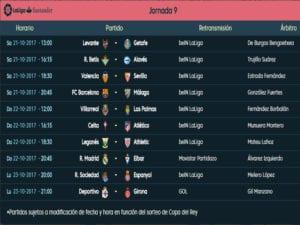 Calendario de partidos | LaLiga Santander | Jornada 9ª | Temporada 2017-2018 | 21 al 23/10/2017