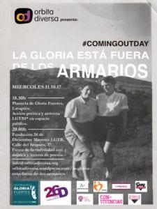 Día de la Salida del Armario | Órbita Diversa | 'La Gloria está fuera de los armarios' | Plazuela de Gloria Fuertes | Lavapiés | Madrid | 11/10/2017 | Cartel