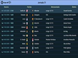 Calendario de partidos   LaLiga 1 2 3   Jornada 31ª   Temporada 2017-2018   16 al 19/03/2018
