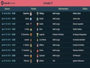 Calendario de partidos | LaLiga Santander | Jornada 31ª | Temporada 2017-2018 | 06 al 09/04/2018