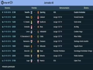 Calendario de partidos   LaLiga 1 2 3   Jornada 40ª   Temporada 2017-2018   18 al 21/05/2018