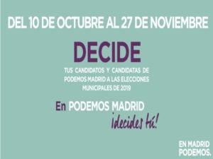 Podemos Madrid   Primarias elecciones municipales 2019   Ayuntamiento de Madrid   Cartel