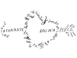 Día y Noche de los Libros 2019 | Museos Comunidad de Madrid | Caligrama 'Saignante flèche' | Guillaume Apollinaire