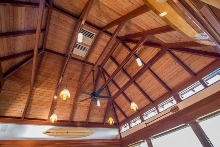 The cedar ceiling always looks warm