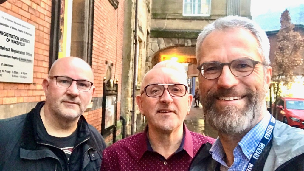 Andrew Edwards, Paul Cartwright and Phil Cook at Pontefract Town Hall.