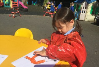 Practising Letter Formation with Finger Painting.