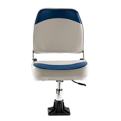 Folding Pontoon Boat Seats In Gray and Red Pedestal Not Included