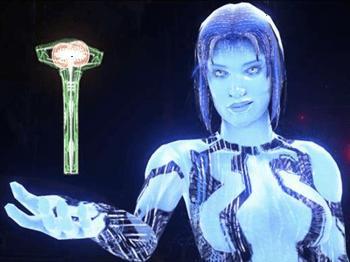 Cortana, a inteligência artificial criada pelos humanos acompanha Master Chief em toda a saga Halo e é responsável pelo sucesso de grande parte das missões.