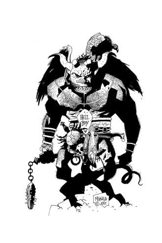 Primeiro Sketch de Hellboy por Mike Mignola