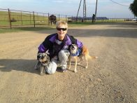 The Pooch Coach with the pups (looks like Mango & Beverly just shared a pretty funny joke!)