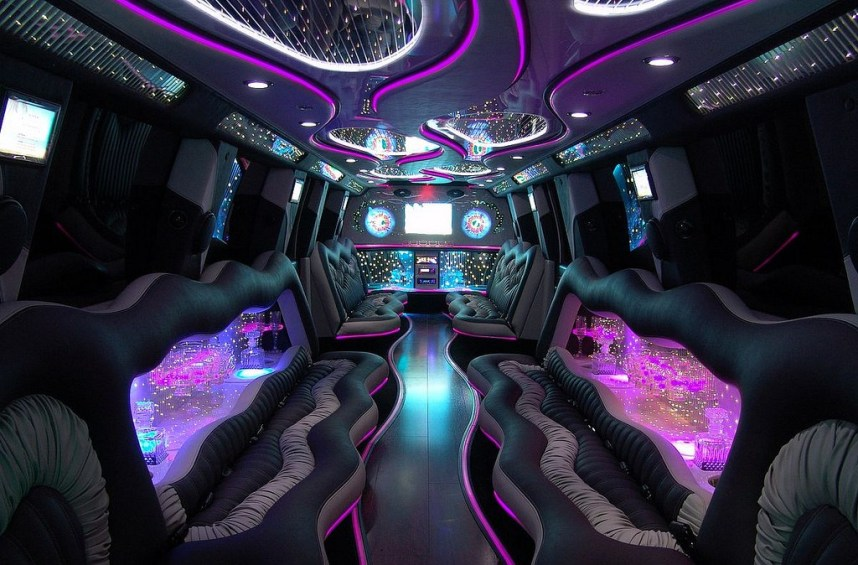Interior of a car with a colorful lights