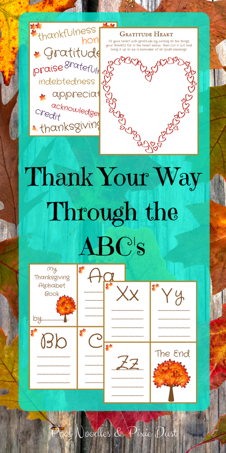 Thank Your Way Through the ABC's - Gratitude Printables & Activities for Thanksgiving