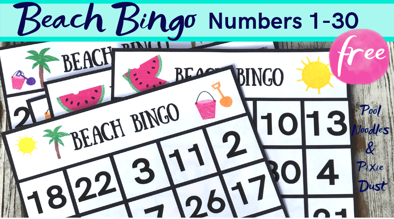 picture regarding Free Printable Numbers 1 30 identified as Beach front Bingo Match for Figures 1-30 - Pool Noodles Pixie Dirt