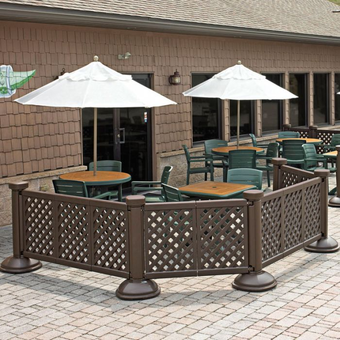 grosfillex us963423 decorative portable fence 3 panel brown