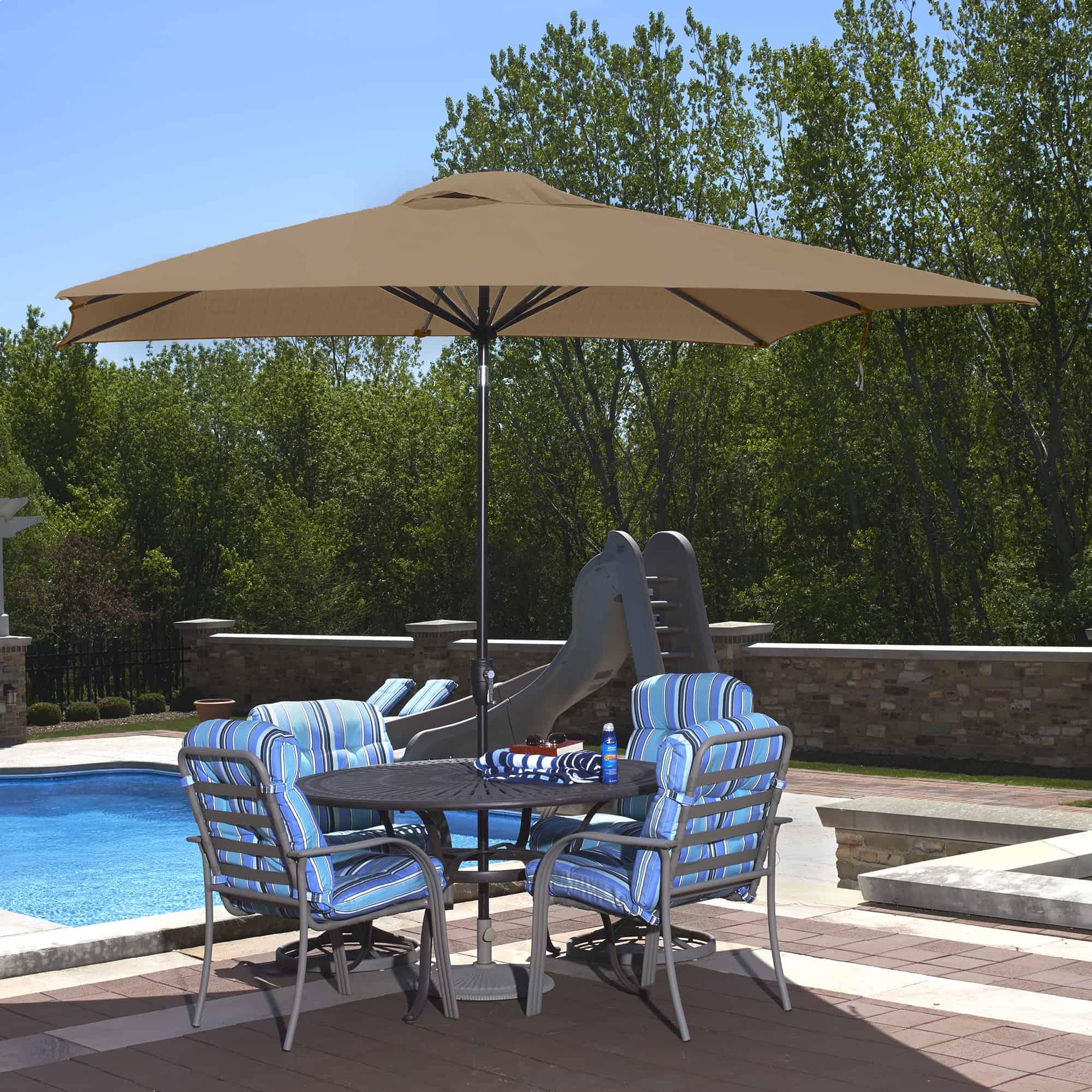 caspian 8 ft x 10 ft rectangular market umbrella with sunbrella canopy pool warehouse