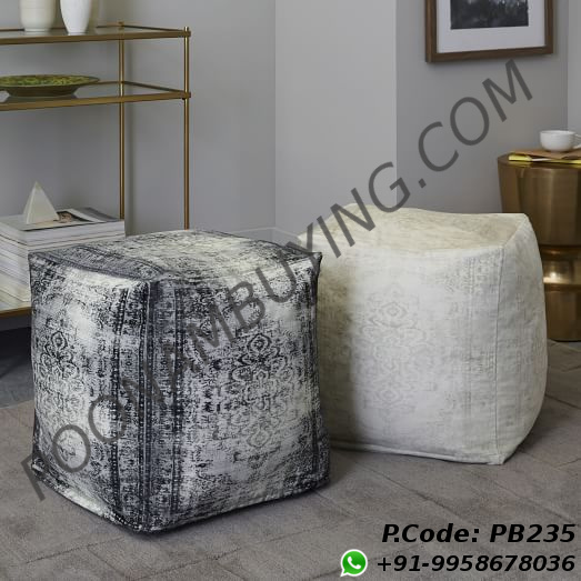 Printed Stone Wash Poufs Image