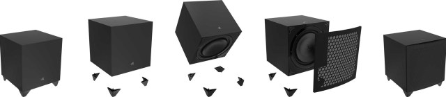 MartinLogan's Dynamo 1100X can be set in either down-firing or front-firing configurations.