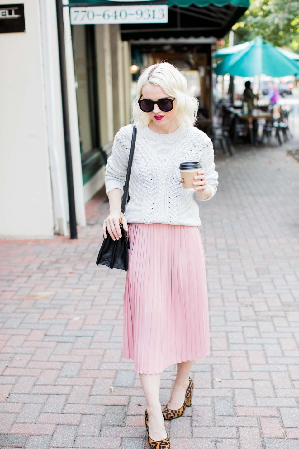 Pink Pleated Midi Skirt Styling For Fall - Poor Little It Girl-2150