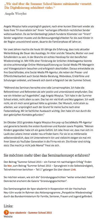 Bericht Perspektive Wiedereinstieg Summer School 2015 Angela Wosylus 5/2016