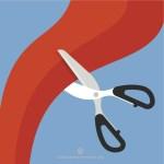 Schere zerschneidet rotes Band, Quelle: publicdomainvectors